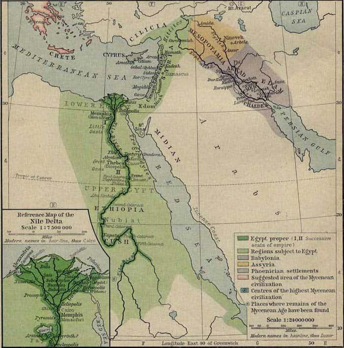 Egypt - mapa přibližně 1450 let před Kristem