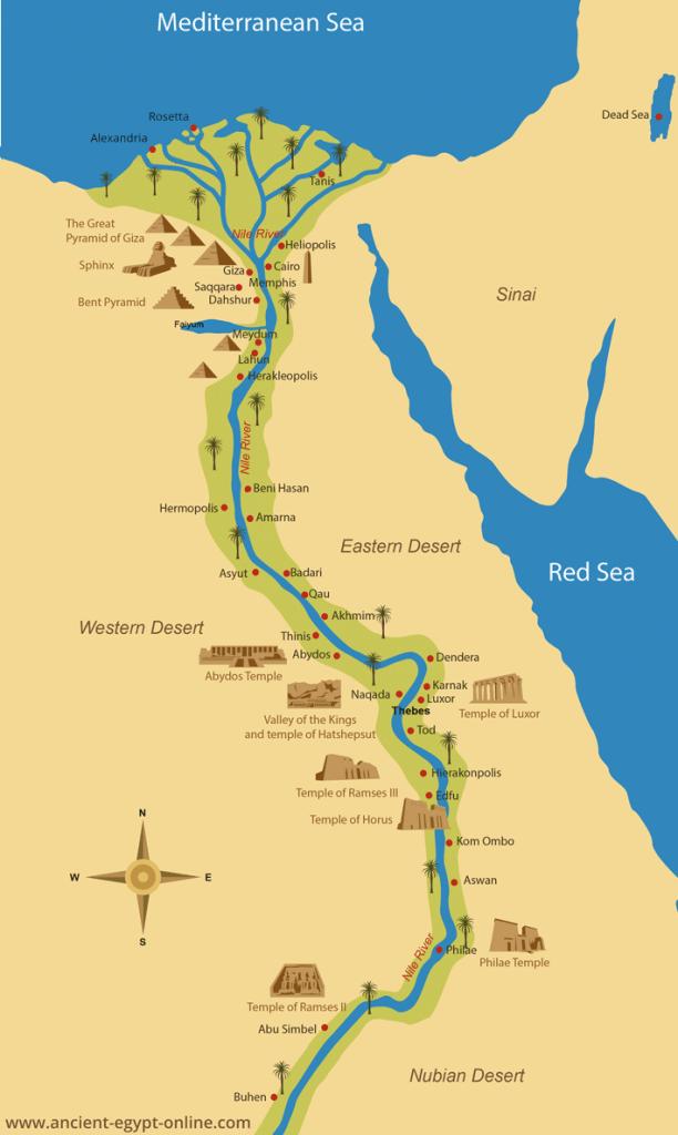 Mapa s hlavními městy, pyramidami a chrámy.
